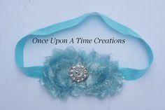 SALE - Aqua Blue Glitter Shabby Chic Flower Rose Headband - Photo Prop - Newborn Baby - Little Girls Hair Bow - Frozen Elsa Inspired Winter