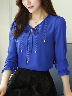 #BerryLook - #berrylook Tie Collar Decorative Lace Plain Chiffon Blouse - AdoreWe.com