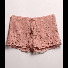 Crochet Shorts #424-ML Muave Crochet shorts that ties in the front. Shorts