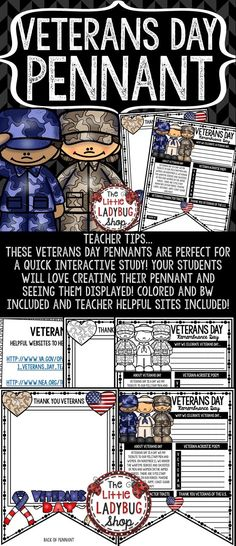Veterans Day Activity Pennant Print & Go with these Pennants! These Veterans Day Posters are perfect for a quick interactive celebration with your students! Colored and BW included