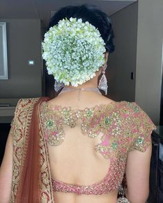 Indian Bridal Bun Hairstyles with white flowers Bridal Hair Buns, Indian Bridal Lehenga, Wedding Function, Floral Hair, Saree Blouse Designs, Backless, Blouses, Bridal Hairstyles, Bun Hairstyles