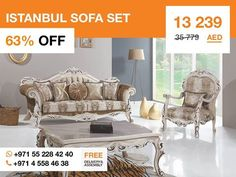 Magnificent and unforgettable, the Istanbul sofa set features comfortable cushions, button-padded backboard cushions, vibrantly hued accent pillows, and carved frame that complement its sumptuous elegance. Made in Turkey this set consists of two three-seater sofas, two armchairs and a coffee table. More details: http://gtfshop.com/istanbul-sofa-set