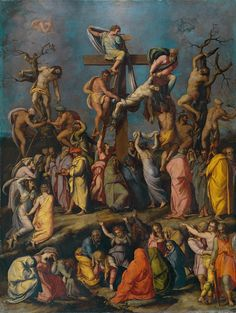 Descent from the Cross / El Descendimiento // ca. 1550 // Alessandro Allori // Christ´s dead body is taken off the Cross by Joseph of Arimathea, Nicodemus and Saint John the Evangelist. // #Jesus #Cristo #GoodFriday #Calvary