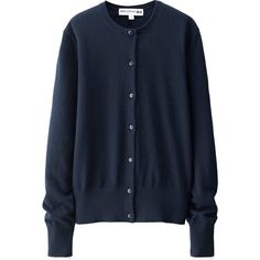 UNIQLO Ines Cotton Cashmere Crew Neck Cardigan ($43) ❤ liked on Polyvore featuring tops, cardigans, blue top, crew neck tops, cardigan top, cashmere tops and crewneck cardigan