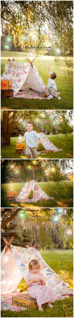 Lanterns of Light | Nikkala Anne Photography family photography session photo inspiration mason jars boy girl willow tent box light click to see entire blog post