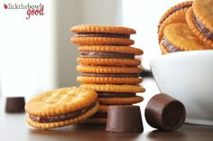 ~ Rolo stuffed Ritz crackers ~ sweet and salty snack ~ preheat to 350 degrees ~ put cracker salty side down, place 1 Rolo on top ~ bake 3-5 minutes to melt Rolo ~ add another cracker on top and push down a little ~ let cool ~