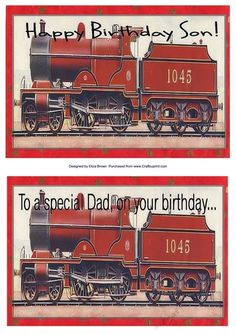 Steam Train Quick Card - Dad and Son by Eliza Brown 2 quick cards of a red steam…