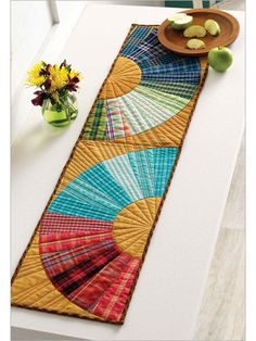 Plaid Curves Table Runner -Kevin Kosbab
