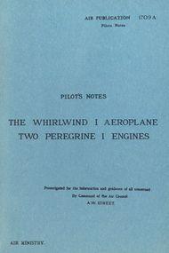 Westland Whirlwind  I Aircraft  Pilot's Notes Manual