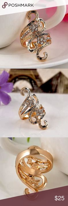 🆕Unique 18k Gold filled Austrian Crystal Ring Sz8 🆕 Brand New Unique 18K Gold Filled Ring with Austrian Crystal. Size 8. Jewelry Rings