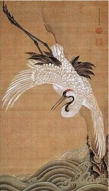 White Crane. Ito Jakuchu. 1751-55. Japanese hanging scroll.