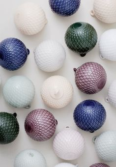 Colorful Christmas ornaments from Lyngby Porcelain.