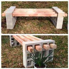 Cedar and cinder block bench