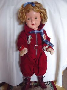 IDEAL COMPOSITION USED SHIRLEY TEMPLE DOLL IN SNOW SUIT 1930'S