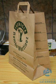 6ff15d33e Bolsas de papel kraft natural impresas en tinta verde. En Manipulados  Catarroja te podemos fabricar