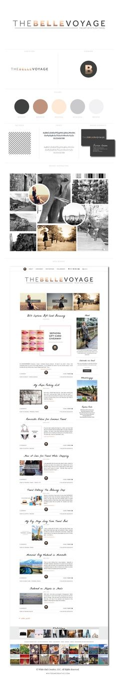 The Belle Voyage WordPress Blog Designbranding and blog design, logo design, wordpress theme, mood board inspiration, blog design idea, graphic design, branding