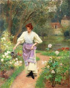 LADY GIRL WATERING THE GARDEN FLOWERS 1899 PAINTING BY VICTOR GILBERT REPRO