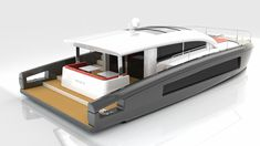 Compact and functional design for this 50 ft motor catamaran intended for long-distance cruising. Aft beach integrated into the stern design, excellent circulation on deck, opening roof, wide sunba… Yacht Design, Boat Design, Pontoon Houseboat, Sauna House, Party Barge, Deck Boat, Boat Projects, Boat Building Plans, Aluminum Boat