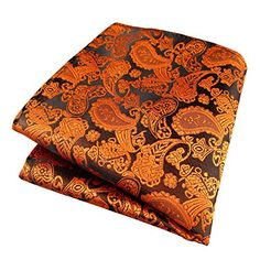 MYHB Orange Paisley 100 Silk Mens Hankerchiefs Wedding Pocket Square for Men *** Check this awesome product by going to the link at the image.