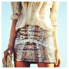 Sequinned skirt and loose blouse, want this
