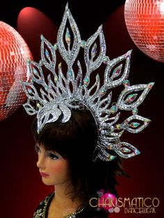 Glittery Silver Iridescent Crystal Accented Flame Styled Sunburst Headdress