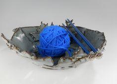 Ceramic yarn  knitting bowl  hand built by WillowTreePottery