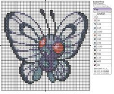 Click the image to enlarge, right click and select Save As to download the pattern. To see what it'll look like stitched, check out what other people have made below. Butterfree by =behindthesofa on deviantART