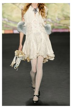ANNA SUI Ruffled velvet and lace dress