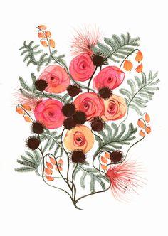 "Colorful botanical art-flowers-pink -cottage decor-modern-""Spring No. 2"" large archival print of original painting, contemporary botanical. $35.00, via Etsy."