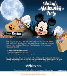 Walt Disney World Halloween Party. Get your tickets today to Mickey's Not So Scary Halloween Party (MNSSHP). Contact DreamFinder Travel to order your tickets. Disney Destinations, Walt Disney World Vacations, Disneyland Trip, Disney Trips, Disney Parks, Dream Vacations, Disney World Halloween, Mickey Halloween Party, Scary Halloween