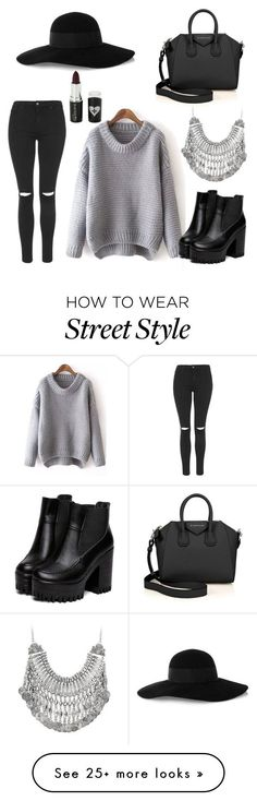 "//""Street style/casual"" by chloebreann on Polyvore featuring moda, Topshop, Eugenia Kim, Givenchy ve Voom #fashion #combination #accessories"