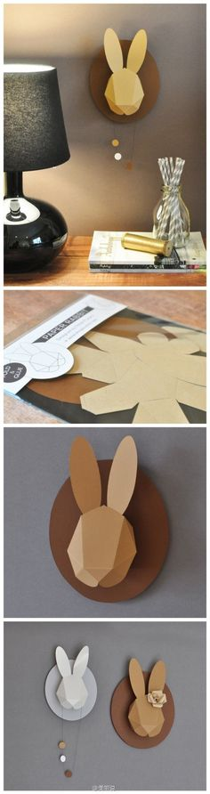 Designed by the French artist Chloe Fleury this  three-dimensional bunny is made of cardboard.