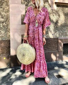 Fashion V-Neck Flare Sleeve Print Vacation Maxi Dress vacation wear summer vacation dresses mexico vacation outfits vacation dresses beach mexico dress travel dresses summer Floryday Vestidos, Vestidos Color Rosa, Holiday Dresses, Summer Dresses, Summer Maxi, Spring Summer, Outfit Summer, Manga Floral, Casual Dresses