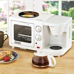 Breakfast Maker - perfect for a small kitchen or a child going off to college in a small dorm room! this would be nice to have Coffee Station Kitchen, Home Coffee Stations, Small Dorm, Dorm Life, College Life, College Dorm Rooms, Dorm Decorations, Kitchen Gadgets, Sweet Home