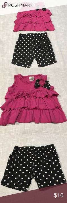 Cute & Trendy Baby Girl Outfit 3-6 Month Baby Girl Outfit, magenta ruffled top & matching black & white polka dot shorts. Matching Sets