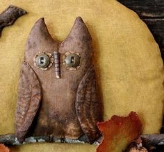 Primitive Halloween Owl Fall Leaves Moon Door by rockriverstitches