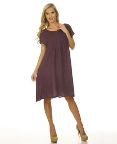 4eb8a05716 Round Neck Cap Sleeve Dress  MatchPoint. Match Point women s linen clothing  Round Neck Cap