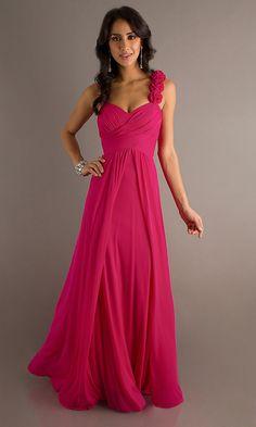 Floor Length Red Chiffon Flowy Semi Formal Dress Empire Waist (9 Colors Available)