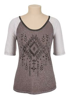 Washed Tribal print baseball tee (original price, $26) available at #Maurices
