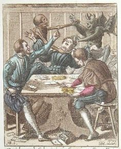 The gambler. Coloured edition from 1816 by Wenceslaus Hollar.