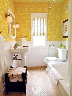 diamond-tile floor, wainscoting, I love the yellow wallpaper Yellow Baths, Yellow Bathrooms, White Bathroom, Yellow Rooms, Bathroom Small, Bathroom Modern, Ideas Baños, Canadian House, Bathroom Inspiration