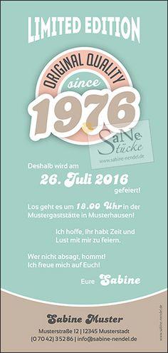 Einladungskarte Geburtstag Vintage Jahrgang 1976