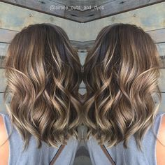 Ash+Brown+Balayage+Wavy+Hair
