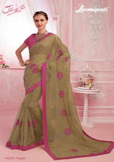 Get this eye-catching olive green stone work with rawsilk lace border along with pink rawsilk blouse by Look fresh, look chic! Laxmipati Sarees, Saree Shopping, Lace Border, Stone Work, Look Chic, Cotton Saree, Daily Wear, Bridal Collection, Kurti