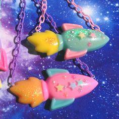 Kawaii Rocket and Stars Resin Necklace Fairy Kei by VixieAndMynx