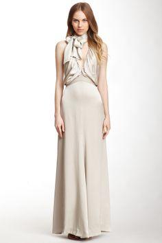 Chloe Draped V-Neck Silk Dress//