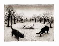 Prowling Cats by timsouthallart on Etsy, £160.00