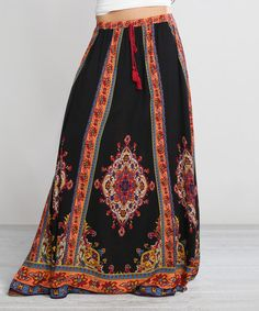 Another great find on #zulily! Black & Red Floral Maxi Skirt by Flying Tomato #zulilyfinds