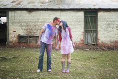 Super messy fun! Colourful Holi Powder Engagement Shoot by C J Williams Photography
