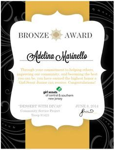 Girl Scouts - Bronze Award Certificate - made using Microsoft Word standard template.  Free and easy.
